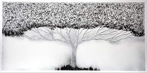 Cuadro Pintado Árbol de la Vida Plata 140x70 cm 100% Original, con Piedras Brillantes y Reflejos Plata