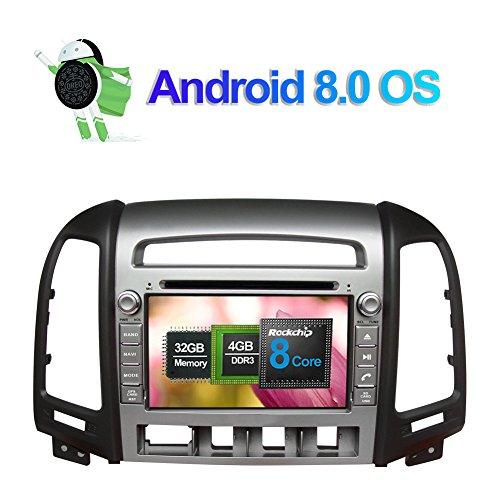 4G-RAM 7 pouces Android 8.0 Octa Core 32Go ROM Double DIN voiture stéréo Radio HeadUnit Navigation GPS pour Hyundai Santa Fe 2006-2012 Soutien DAB+/Bluetooth/Mirror Link/Wifi/SWC/AV-OUT/Entrée Caméra