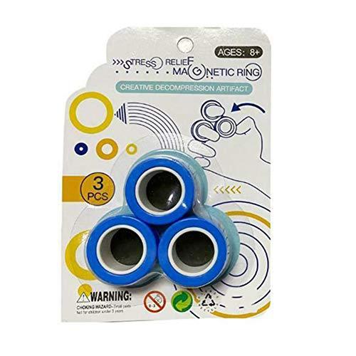 CFeng Magnetische Ringe, Spielzeug, magnetisches Armband, Ring mit Reißverschluss, magische Ring-Requisiten, buntes Fingerspielzeug für Erwachsene und Kinder (blau)