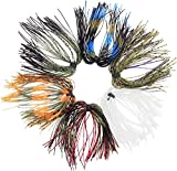 Fishing Silicone Jig Skirts DIY Bass Jig Lures Rubber Material- 12/36 Bundles 50 Strands Fishing Bait Accessories Spinnerbaits Buzzbaits Skirt Replacement Part Fly Tying Material Color Random