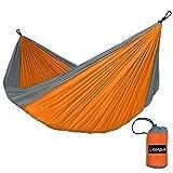 Hamaca portátil Lixada para 2personas, de tela de nailon resistente al aire libre, para camping, jardín o playa, Orange + Grey