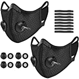 kungfuren 2 Sets Sports Cycling Masks with Activated Carbon Filter, Cycling Mask with 4 Breathing Valve and 8 Soft Foam Padding for Women Man Running