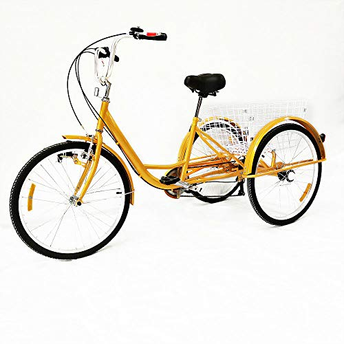 Minus One – Triciclo para adultos – Triciclo con 3 ruedas – Bicicleta para personas mayores – Bicicleta de carga 24 pulgadas, 6 velocidades Shimano, Color amarillo con luces.