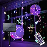 Solar Star Moon Curtain Lights Fairy Lights Solar Powered Hanging String Lights for Window Fence Tent Garden Patio Home Outdoor Decoration (Multicolor)