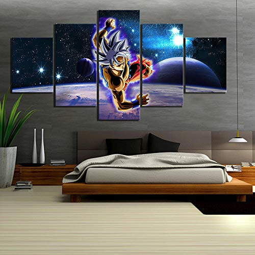 SWXXLY Wall Art Printed Canvas Painting 5 Pieces Dragon Ball Super Anime Pictures Modular Starry Night Sky Poster Home Decor Kids RoomFramed30x40cm30x60cm30x80cm