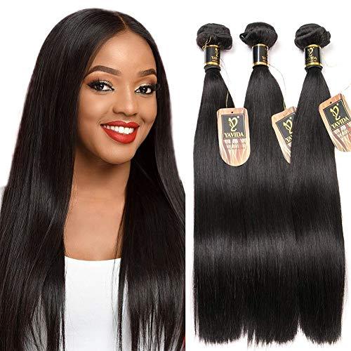 Yavida Tissage Bresilienne Meche Bresilienne lot Cheveux Bresilien Lisse Tissage en Lot Tissage Cheveux Humain Bresilienne Raide 16 18 20