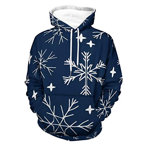 Winter Light Snowflake Cute Anime Hoodie 3D gedrucktes Gesicht Gym Shirt Sweatshirt Kleidung Bequem Bekleidung Anzug Home Tops 3XL Gr. XX-Large, weiß