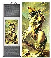 ナポレオンの肖像画ホームオフィスの装飾中国のスクロール絵画ナポレオンアート絵画ナポレオン-100cmx30cm_Yellow_package