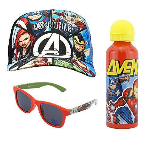 SRV Hub Juego de 3 gorra de béisbol y gafas de sol de Marvel Avengers con botella de agua de aluminio de 500 ml, regalo deportivo y escolar