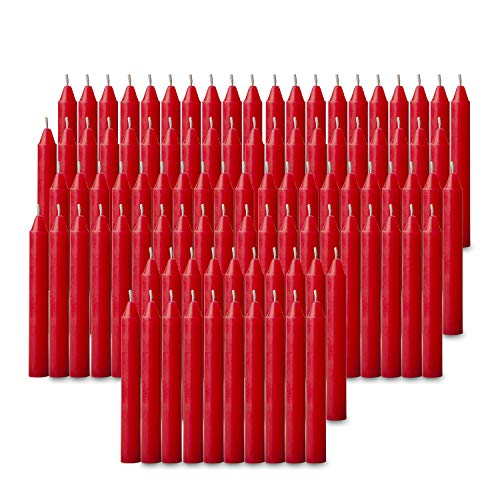 100 pcs Bulk Red Candles for Christmas Tree - Angel Chime Decorations - Christmas Pyramids Carousel - 4 inch X 1/2 inch Diameter - 1.5 Hour Burn Time.Unscented