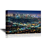 wall26 - USA City Skyline Canvas Wall Art - Downtown Los Angeles Skyline at Night, from Griffith Observatory, California - Gallery Wrap Modern Home Art   Ready to Hang - 24x36 inches