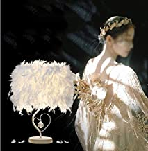 Feather Table Lamp Vintage Elegant Heart Shape Bedside Desk Crystal Light White Lampshade for Bedroom Foyer Living Reading Room Decorations