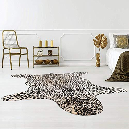 Qilim nepbont tapijt dierenbont met dierenbont optiek in zebra-, koei-, gepard- en rehkitz-imitatie, vlakke polen van polyester met anti-slip achterzijde; Afmetingen: 150x200 cm 150 cm_x_200 cm zwart, wit, bruin.