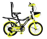 Hi-Fast 16 inch Kids Cycle for 5 to 8 Years Boys & Girls with Training Wheels & Carrier (KIDOZ-16T-Semi-Assembled)
