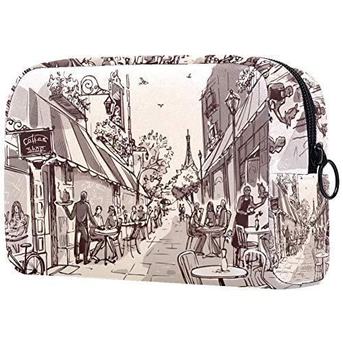 Personalisierbare Make-up-Pinsel-Tasche, tragbare Kulturtasche für Frauen, Handtasche, Kosmetik, Reise-Organizer, Tasse Kaffee