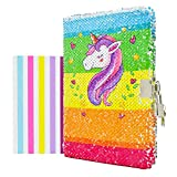 """VIPbuy Kid Girls' Unicorn Diary with Lock and Key Flip Sequin Journal w/ Photo Corner, 8.5"""" x 5.5"""", 156 Pages"""