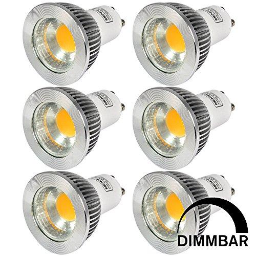 MENGS 6 Stück Dimmbar GU10 COB LED Rampenlicht Lampe 5W Warmweiß 3000K AC 220-240V Mit Aluminium Mantel
