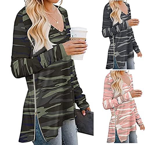 Zldhxyf T-shirt à manches longues col en V pour femme - Camouflage - Manches longues - Sweatshirt élégant - Pull décontracté - Sportswear, gris, M