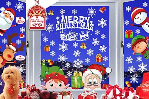 CheChury Natale Vetrofanie Natale Adesivi Porta Addobbi Rimovibile Adesivi Statico Fai da Te Finestra Sticker Decorazione Babbo Natale Vetrina Atmosfera Natalizia Alci di Babbo Natale Fiocco di Neve