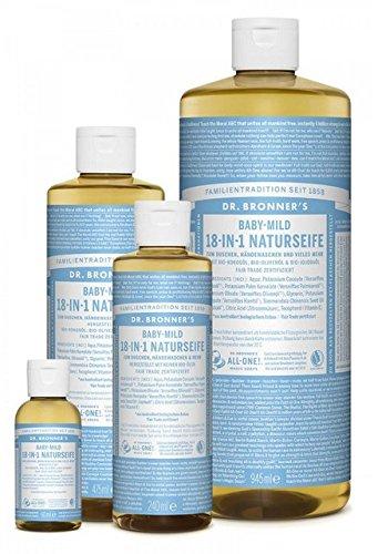 Dr. Bronner´s Naturseife Baby-mild (ohne Duft) 18-in-1 Magic Soap natürliche Flüssigseife aus biologischem Anbau, vegan, keine Zusatzstoffe, Fair Trade zertifizierte Bioseife (1x240ml)