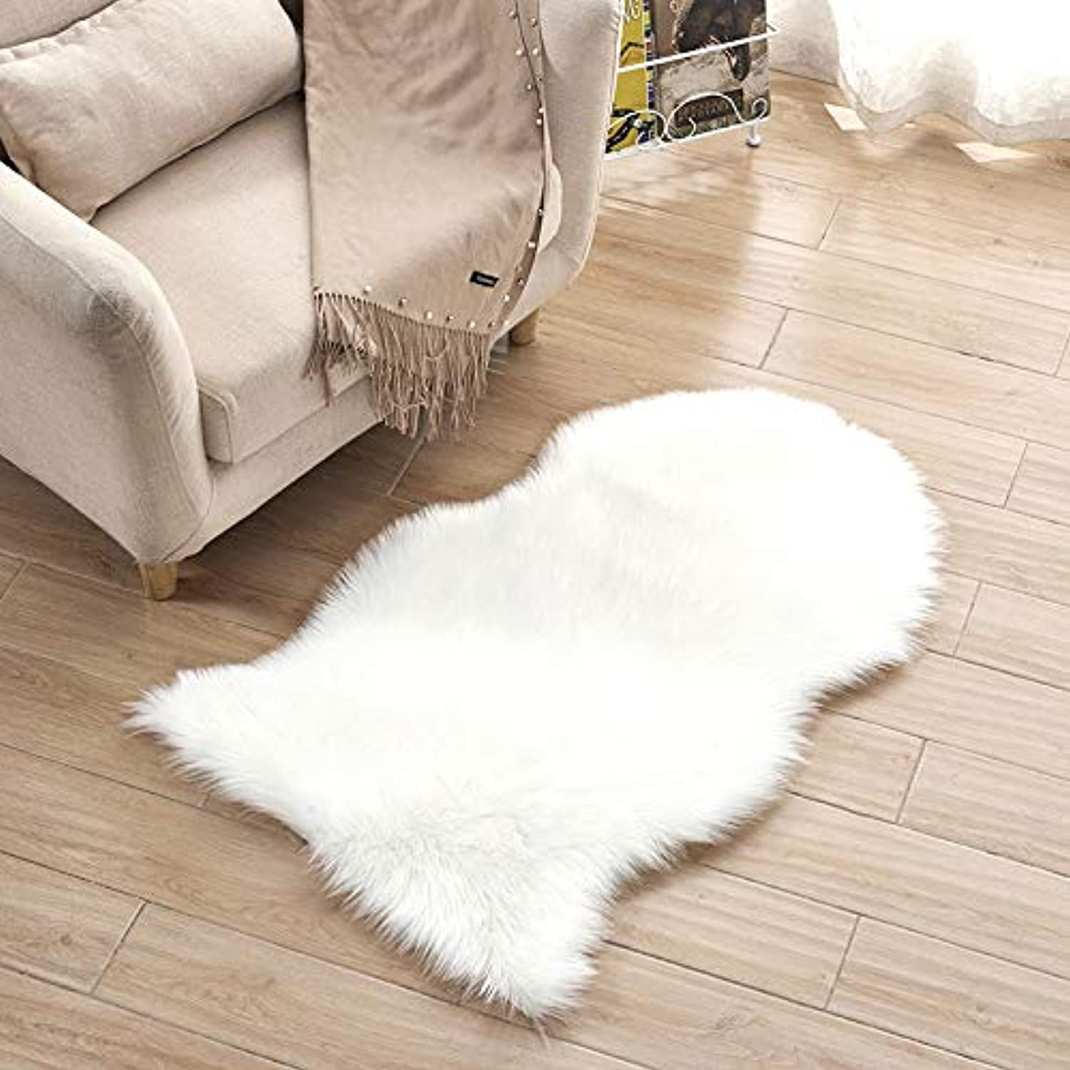 Plush Thick Carpet Bedroom Living Room Floor Mat Window Cushion Sofa Cushion, Washable and Contact with Skin - White,1P60150CM