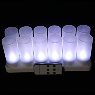 EuroFone LED Rechargeable Candle Flameless Tealight with Remote Control 12pcs/Set