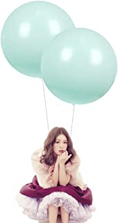 24 Inch Latex Round Balloons 10 Pack Macaron Teal Blue Thick Big Balloons for Photo Shoot Wedding Baby Shower Birthday Party Decorations by IN-JOOYAA