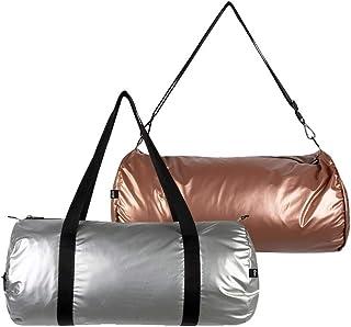 LOQI Metallic Weekender Reversible Bag, Silver & Rose Gold