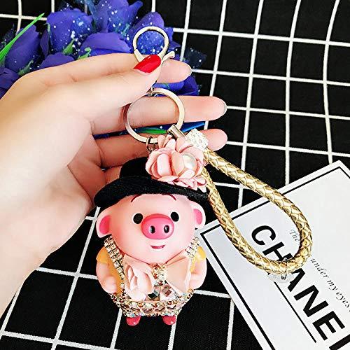 Sinzong sleutelhanger sleutelhanger leuke karikatuur diamant varken auto sleutelhanger vrouwelijk varkentje pop tas sleutelhanger ornament 2st champagne