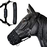 Deluxe Comfort Lined Grazing Muzzle, Heavy Duty Waffle Neoprene with Chin and Neck Pads, (Horse)
