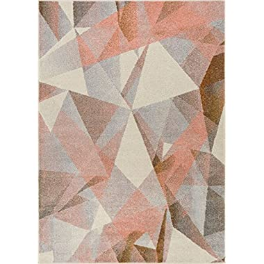 Well Woven Barra Blush Pink Multi-Color Modern Geometric Triangle Pattern Abstract 3x5 (3'3  x 4'7 ) Area Rug Contemporary Thick Soft Plush