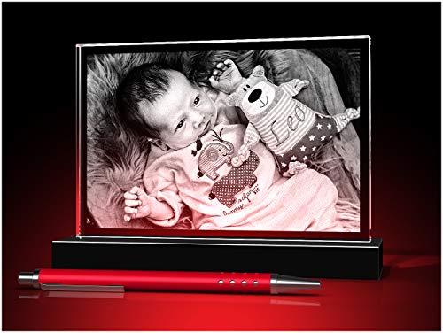 GLASFOTO.COM, Glasfoto 150 x 100 x 10 mm, Querformat mit Ihrem eigenen Foto als individuell anpassbares Geschenk, Kristallglas Innengravur in Premiumqualität