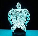 Tortuga de luz de noche LED 3D con luz de 7 colores para lámpara de decoración del hogar Visualización increíble Ilusión óptica Impresionante