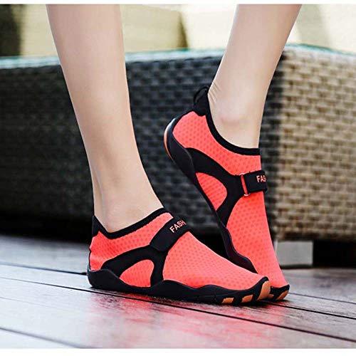 Zapatos de hombre (Rosa) Exterior Low-top Mesh Upstream Shoes Hombres y mujeres antideslizantes Ligeros zapatos de vadeo Pareja buceo Zapatillas de natación de secado rápido US5-US10.5 zapatos de homb