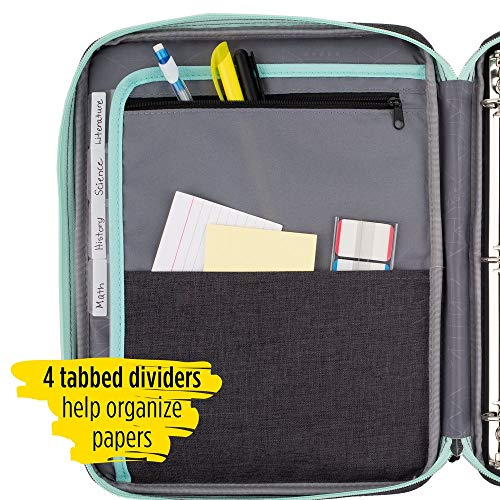 Five Star Zipper Binder, 1 Inch 3 Ring Binder, Carry-All with Internal Pockets & Dividers, Heathered Gray/Mint (29092BH0) Photo #5