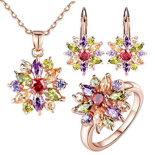 AdronQ Conjuntos de Joyas de Color Rosa Dorado para Mujeres con joyería de Compromiso y Bodas de circonita Multicolor AAA