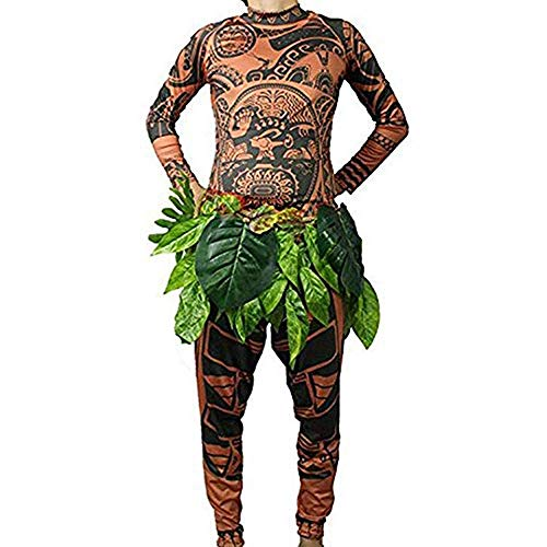 Tribal Imprint Tattoo T Shirt/Pants/Grass Skirt Halloween Adult Mens Women Anime Cosplay Costume for Carnival Party (XL)