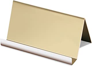 NIPOLE High-end Business Card Holder Stainless Steel Mirror Polish Desk Accessory Business Card Display Stand Rack Office Organizer (Champaign Gold)