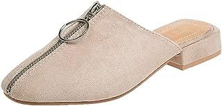 2019 New! JJLIKER Women Suede Closed Toe Zipper Low Heel Sandals Fashion Summer Outdoor Slingback Slippers