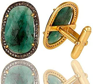 Emerald Gemstone Cuff links, Pave Diamond Sterling Silver Gemstone Jewelry, 14k Gold Gemstone Diamond Cufflinks