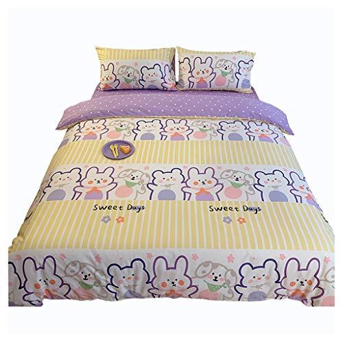 DYXYH Doppel-Einzelkinderbett Bettdecke-Deckung Set Niedlicher Druck 4-teiliger Bettwäsche-Bettdecke Set König (Size : 1.5cm)