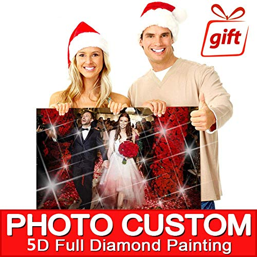 WFhome Personalized Custom Photo Diamond Painting 5D DIY Diamond Painting, Private Picture Full Drill Round Diamond Painting for Living Room, Wall Decoration.(40x40cm)