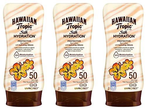 Hawaiian Tropic Silk Hydration Protective SPF 50 - Sonnenschutzlotion mit feuchtigkeitsspendenden und wasserfesten Seidenbändern, Tropical Sun Cream, Packung 3 Stück x 180 ml