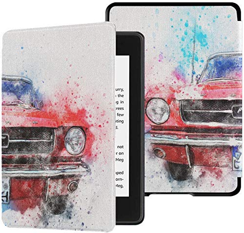 Best Kindle Paperwhite Case Car Old Car Mustang Art Abstract Watercolor Kindle Paperwhite Case for Kids Case with Auto Wake/Sleep Kindle Paperwhite 2018 Cover 10th Generation 2018