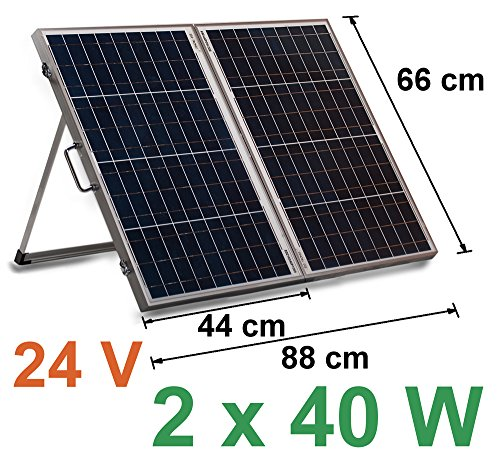 24V Solarkoffer 2 x 40W Laderegler 10A Solar Modul Zelle 80W Solarpanel Wohnmobil Solarmodul Solarzelle Camping Garten USB