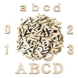 wood alphabet - Satinior 124 Pieces Totally Wooden Capital Letter Wood Lower Case Letters Wooden Numbers for Arts Crafts DIY Decoration Displays