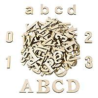 SATINIOR 124個 木製大文字木製小文字文字 木製数字 アートクラフト DIYデコレーションディスプレイ