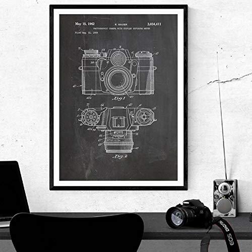 zhuziji DIY Malen nach Zahlen Vintage Kamera Patent Wandkunst, antike Kamera Malerei Malerei Retro Blaupause Wandbild Fotografie Dekoration50x70cm(Kein Rahmen)