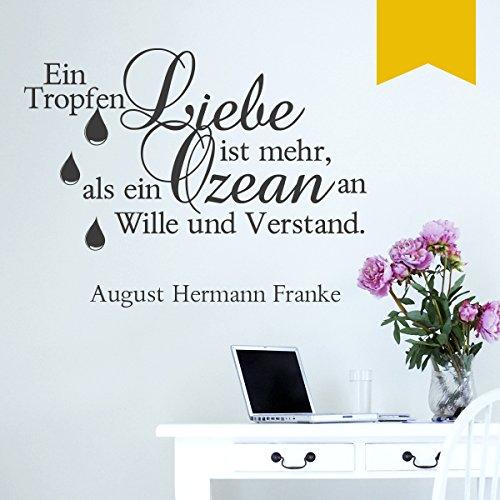 WANDKINGS Wandtattoo - Ein Tropfen Liebe ist mehr, als ein Ozean an Wille und Verstand. (August Hermann Franke) - 75 x 57 cm - Goldgelb - Wähle aus 5 Größen & 35 Farben