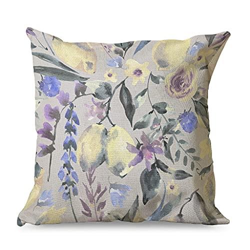 Gamoii Fundas de cojín decorativas de lino con diseño de acuarela, flores y limón, con cremallera, 45 x 45 cm, color blanco
